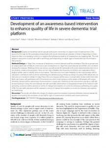 Study protocol Development of an awareness-based intervention to