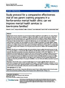 Study protocol for a comparative effectiveness trial