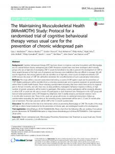 Study: Protocol for a randomised trial of cognitive behavioural therapy ...