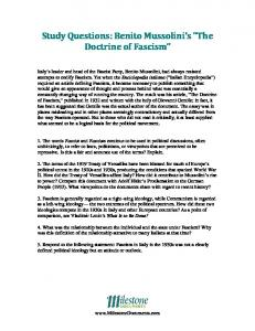 """Study Questions: Benito Mussolini's """"The Doctrine of Fascism"""""""