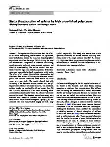 Study the adsorption of sulfates by high cross-linked polystyrene ...