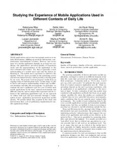 Studying the Experience of Mobile Applications ... - Semantic Scholar