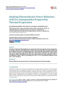 Studying Thermoelectric Power Behaviors of