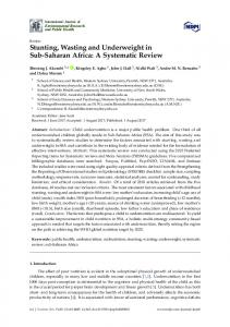 Stunting, Wasting and Underweight in Sub-Saharan Africa - MDPI