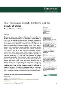 Stuttering and the Beauty of Christ - South African Theological Seminary
