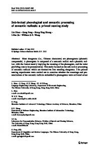 Sub-lexical phonological and semantic processing of ... - Springer Link