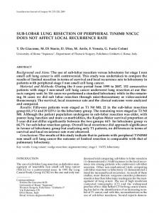 Sub-Lobar Lung Resection of Peripheral T1N0M0 ... - SAGE Journals