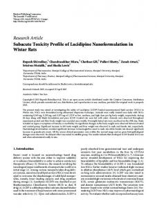 Subacute Toxicity Profile of Lacidipine Nanoformulation in Wistar Rats