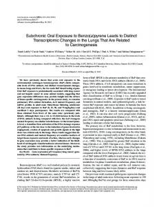 Subchronic Oral Exposure to Benzo(a)pyrene Leads ... - Oxford Journals