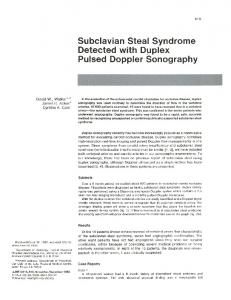 Subclavian Steal Syndrome Detected with D~plex