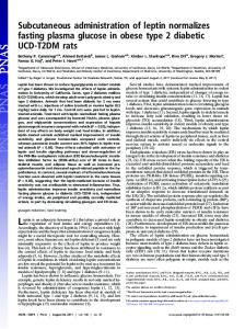 Subcutaneous administration of leptin normalizes fasting plasma ...