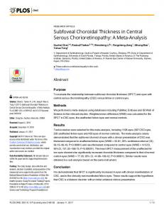Subfoveal Choroidal Thickness in Central Serous ... - PLOS