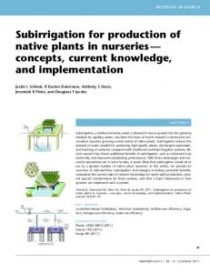 Subirrigation for production of native plants in nurseries - USDA Forest ...