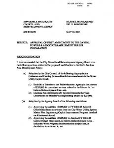 SUBJECT: APPROVAL OF FIRST AMENDMENT TO THE DAVID J ...