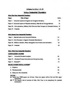 Subject: Industrial Chemistry