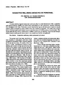 subjective wellbeing among police personnel - Semantic Scholar