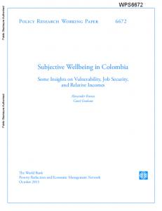 Subjective wellbeing in Colombia - Brookings Institution