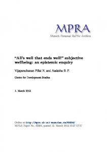 subjective wellbeing - Munich Personal RePEc Archive