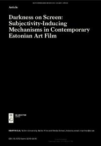 Subjectivity-Inducing Mechanisms in Contemporary Estonian Art Film