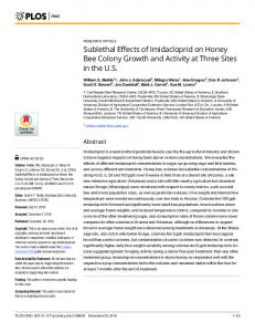 Sublethal Effects of Imidacloprid on Honey Bee Colony Growth ... - PLOS