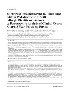 Sublingual Immunotherapy to House Dust Mite in ... - Semantic Scholar