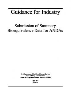 Submission of Summary Bioequivalence Data for ANDAs