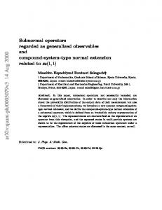 Subnormal operators regarded as generalized observables and ...