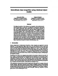 Subordinate class recognition using relational object models