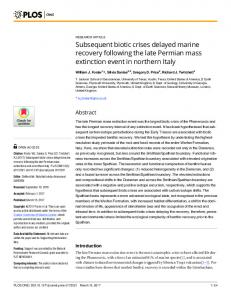 Subsequent biotic crises delayed marine recovery following the ... - Plos