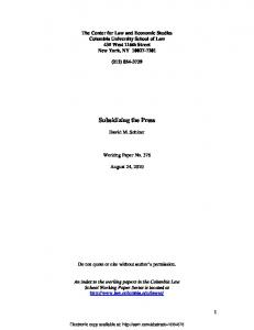 Subsidizing the Press - SSRN papers