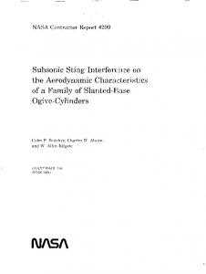 Subsonic Sting - NASA Technical Reports Server (NTRS)