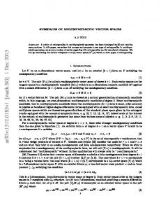 Subspaces of Multisymplectic Vector Spaces