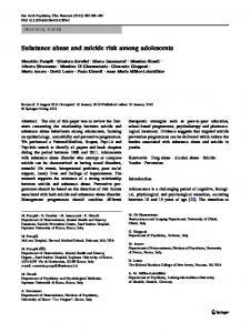 Substance abuse and suicide risk among adolescents - Springer Link