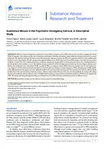 Substance Abuse: Research and Treatment - SAGE Journals