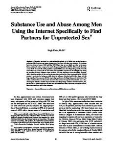 Substance Use and Abuse Among Men Using the ...