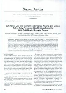 Substance Use and Mental Health Trends Among US Military Active ...