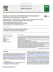 Substance use outcomes in the Healthy School and Drugs program ...