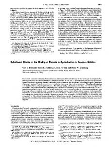 Substituent Effects on the Binding of Phenols to Cyclodextrins in ...