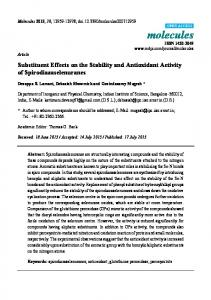 Substituent Effects on the Stability and Antioxidant Activity of ... - MDPI
