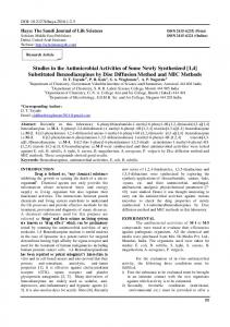 Substituted Benzodiazepines by Disc Diffusion Method and