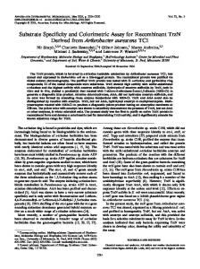 Substrate Specificity and Colorimetric Assay for Recombinant TrzN ...