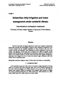 Subsurface drip irrigation and water management ...