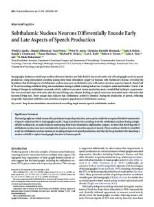 Subthalamic Nucleus Neurons Differentially Encode Early and Late ...