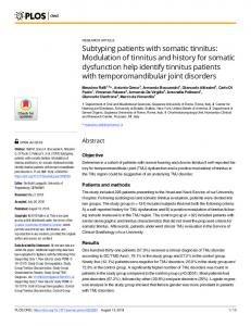 Subtyping patients with somatic tinnitus: Modulation of tinnitus ... - PLOS