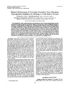 Subunit Interactions of Vesicular Stomatitis Virus ... - NCBI - NIH
