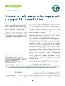 Successful and safe treatment of hemangioma with oral propranolol in ...