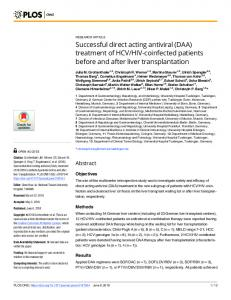 Successful direct acting antiviral (DAA) treatment of HCV/HIV ... - PLOS