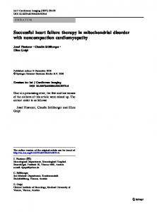 Successful heart failure therapy in mitochondrial ... - Springer Link