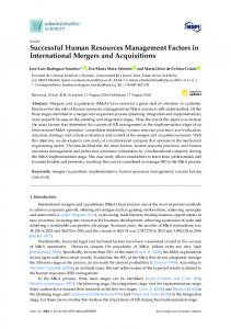 Successful Human Resources Management Factors in ... - MDPI