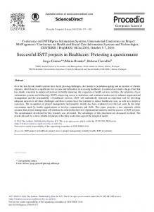 Successful IS/IT Projects in Healthcare: Pretesting a ... - ScienceDirect